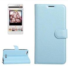 untuk Alcatel Pixi 4 PLUS Power Lengkeng Tekstur Case Kulit Horisontal Flip dengan Pemegang dan Slot Kartu dan Dompet (biru) -Intl