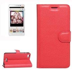 untuk Alcatel Pixi 4 PLUS Power Lengkeng Tekstur Case Kulit Horisontal Flip dengan Pemegang dan Slot Kartu dan Dompet (merah) -Intl