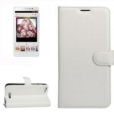 untuk Alcatel Pixi 4 PLUS Power Lengkeng Tekstur Case Kulit Horisontal Flip dengan Pemegang dan Slot Kartu dan Dompet (putih) -Intl