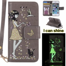 for Apple iPhone 5 / 5S / 5SE Case Cover - Classic Fashion Style Wallet Flip Stand Noctilucent PU Leather Phone Case - intl