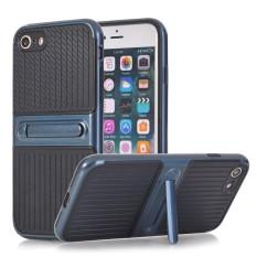 Untuk Apple iPhone SE 5 S Case [Karbon Fibre] Premium Bergaris Lembut TPU Sampul Belakang Case, dibangun Di-Dalam Stand Penyangga Penahan, Tahan Tahan, Tahan Goncangan-Internasional
