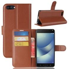 untuk ASUS ZenFone 4 Max (ZC520KL) Lengkeng Tekstur Case Kulit Horisontal Flip dengan Pemegang dan Slot Kartu dan Dompet (Coklat)-Intl