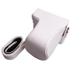 untuk Canon EOS M10 Kasus Berkualitas Tinggi Foto Retro PU Kulit Kamera Digital Tas Kulit Pelindung Bahu dengan Tali (putih)