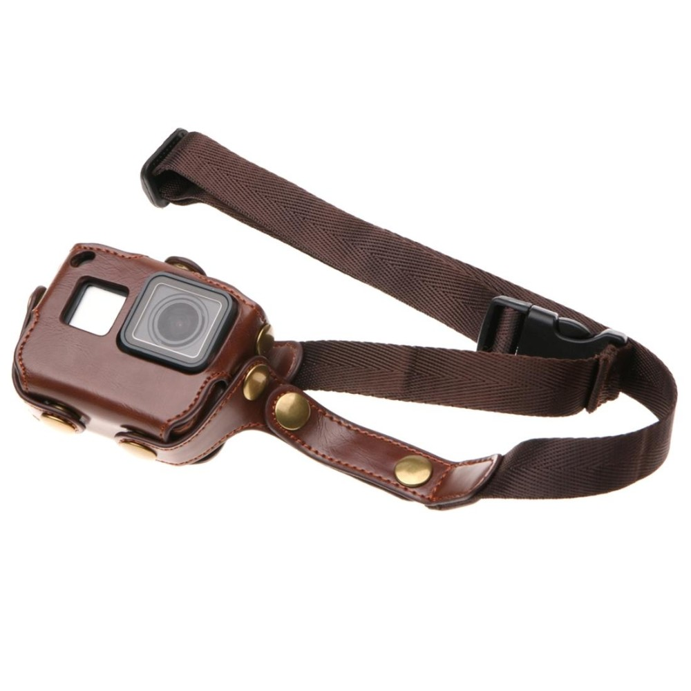 Harga For Gopro Hero6 5 Pu Leather Housing Case With Neck Strap And Buttons Brown Intl Asli Sunsky