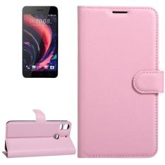 untuk HTC Desire 10 Pro Lengkeng Tekstur Case Kulit Horisontal Flip dengan Pemegang dan Slot Kartu dan Dompet (Pink) -Intl