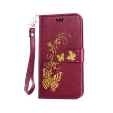 untuk HTC Desire 626/626g/626g + Case Cover-Bronzing Butterfly Bunga Gaya Busana Dompet Flip Stand PU Kulit Mobile Phone Case-Intl
