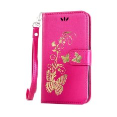 untuk HTC Desire 816 Case Cover-Bronzing Butterfly Bunga Gaya Busana Dompet Flip Stand PU Kulit Mobile Phone Case -Intl