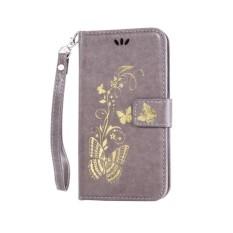 untuk HTC DESIRE 820 Case Cover-Bronzing Butterfly Bunga Gaya Busana Dompet Flip Stand PU Kulit Mobile Phone Case -Intl