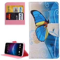 For HTC M10 Half Blue Butterfly Pattern Pattern Leather Case With Holder and Card Slots and Wallet - intl
