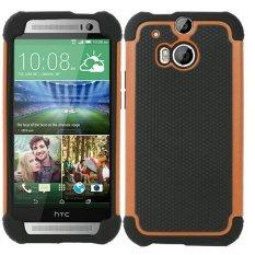 untuk HTC One M8 Case Heavy Duty Pelindung Armor Shock Menyerap Dual Layer Hybrid Rugged Karet Cover Case Warna Oranye (Intl)