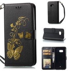 untuk HTC U11 Case Cover-Bronzing Butterfly Bunga Gaya Busana Dompet Flip Stand PU Kulit Mobile Phone Case- INTL
