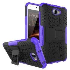 untuk Huawei Ascend Y5 II Case Heavy Duty Armor Tahan Guncangan Hibrida Silicone Rubber Hard Kasus Telepon Cover untuk Huawei Y5 2rd Gen (Ungu) -Intl