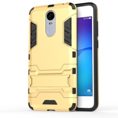For Huawei Enjoy 6 Silicon Frame Hard Plastic Shockproof Phone Case With Holder (Gold) - intl