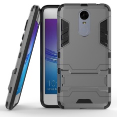 For Huawei Enjoy 6 Silicon Frame Hard Plastic Shockproof Phone Case With Holder (Grey) - intl