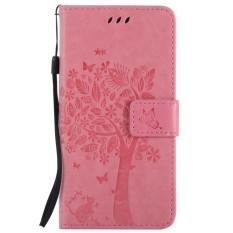 Untuk Huawei Honor 7i Merah Muda Emboss Bunga Dompet Kulit Berkualitas Tinggi Slot Kartu Lipat Penyangga Case Sarung-Internasional
