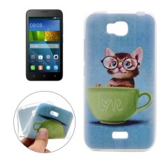 For Huawei Honor Bee Glasses Cat Pattern TPU Soft Protective Back Cover Case - intl