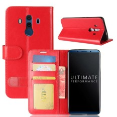 For Huawei Mate 10 Porsche Design & Mate 10 Pro Crazy Horse Texture Horizontal Flip Leather Case with Holder & Card Slots & Wallet(Red) - intl