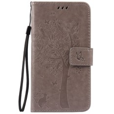 For Huawei MATE S Gray Emboss Flower Leather Wallet Card Slot Flip Stand Case Cover - intl