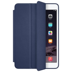untuk IPad Mini 1 2 3 Retina Smart Case Slim Berdiri Kulit Cover Dark Blue-Intl