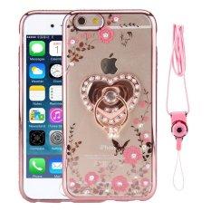 untuk IPhone 6/iPhone 6 S 4.7 Inch TPU Elektroplating Bling Diamond Frame Cover (Rose Gold) -Intl