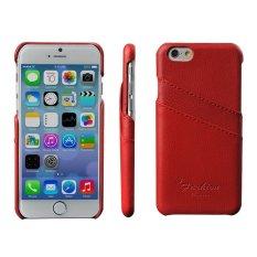untuk IPhone 6/6 S 4.7 Inch-Putih Bergaya Pola Lychee Kulit Asli Phone Back Case Cover Kulit Protector dengan Pemegang Kartu (Warna: Merah) (Netral)-Intl