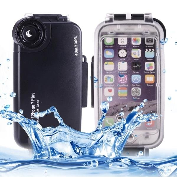For IPhone 7 Plus 40m Waterproof Diving Housing PC + ABS Protective Case (Black) - intl