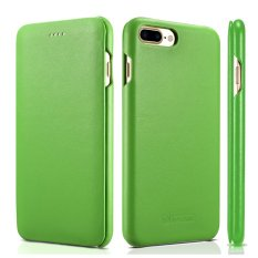 untuk IPhone 7/8 Plus Kasus Kulit Asli, ICARER Kulit Mewah Flip Folio Pembukaan Cover, Desain Tepi Melengkung, Side-Open Case Magnetic Closure (Hijau)-Intl
