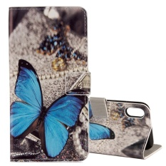 For iPhone X Blue Butterfly Pattern Horizontal Flip Leather Case with Holder & Card Slots & Wallet