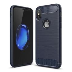 Untuk iPhone 8 Carbon Fiber TPU Tekstur Kasar Shockproof Pelindung Penutup Belakang Case, kecil Kuantitas Dianjurkan Sebelum iPhone 8 Launching (Navy)-Intl