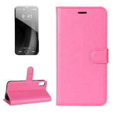 untuk IPhone 8 Lengkeng Tekstur Case Kulit Horisontal Flip dengan Pemegang dan Slot Kartu dan Dompet, Kecil Kuantitas Dianjurkan Sebelum IPhone 8 Launching (Magenta)-Intl