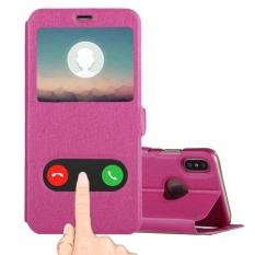 untuk IPhone 8 Sutra Tekstur Case Kulit Horisontal Flip dengan Panggilan Tampilan ID dan Sleep/Wake-up Fungsi dan Holder, Kecil Kuantitas Dianjurkan Sebelum IPhone 8 Launching (Magenta)-Intl
