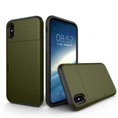 untuk IPhone 8 TPU + PC Dropproof Pelindung Penutup Belakang Case dengan Slot Kartu, Kecil Kuantitas Dianjurkan Sebelum IPhone 8 Launching (Hijau Tentara)-Intl