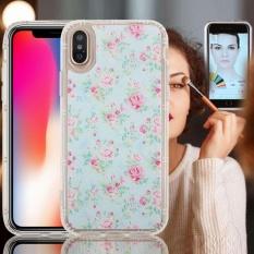 Untuk iPhone X Anti-Gravity Nano Teknologi Hisap Tahan Jatuh Biru Bunga Pola TPU Pelindung Penutup Belakang Case-Intl
