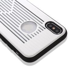 Untuk iPhone X Logam + Buah Berongga-Keluar Penuh Coverage Pelindung Sampul Belakang Case (Perak)-Internasional