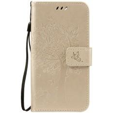 For Lenovo Lemon 3 K32C36 Gold Emboss Flower High Quality Leather Wallet Card Slot Flip Stand Case Cover - intl