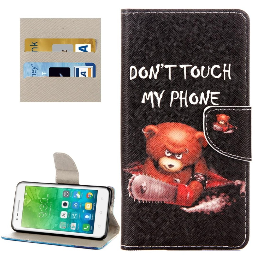For Lenovo Vibe C2 / C2 Power Little Bear Pattern Horizontal Flip Leather Case with Holder and Card Slots and Wallet - intl