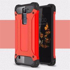 Untuk LG Melarikan Diri 3 [Steel Armor] 2in1 Serat Karbon Premium Soft TPU + PC Hibrida Keras Penutup Belakang Ponsel Baju Besi Tahan Benturan- internasional