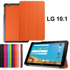 untuk LG G PAD X 10.1 Smart Case, LG G PAD X 10.1 Shell Case, Ultra Slim Premium PU Kulit Folio Case untuk G PAD 10.1 Tablet Cover dengan Magnetic Closure-Orange-Intl