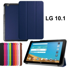 untuk LG G PAD X 10.1 V930 Leather Case, LG G PAD X 10.1 Hard Case, Slim Fit Cover Kulit Vegan untuk 10.1 LG G PAD X Case/LG G PAD II10.1 Tablet- Dark Blue-Intl