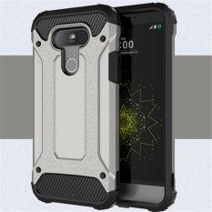 Untuk LG G5 [Steel Armor] 2in1 Serat Karbon Premium Soft TPU + PC Hibrida Keras Penutup Belakang Po
