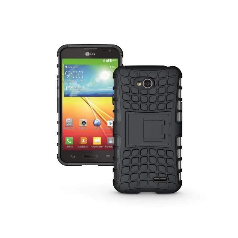 ZZOOI untuk LG L70 Case D320 D325 MS323 Heavy Duty Phone Cover untuk LG L65 D285 D280 Hybrid Shockproof Hard Armor Karet Kasar Coque (Hitam) -Intl