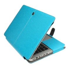 Untuk MacBook Pro 15.4 Inch Laptop Crazy Horse Tekstur Horizontal Lipat Kulit Kasus (Biru)-Internasional