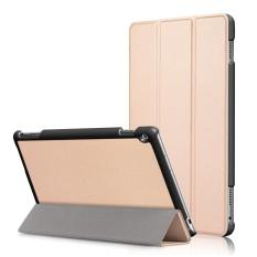 untuk MediaPad M3 Lite 10.0 Case, Ultra Slim Case + PU Kulit Pelindung Cerdas Stand Auto Sleep/Wake untuk Huawei Meja M3 Lite 10.1 Inch, Emas-Intl