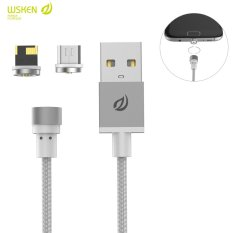 Untuk Micro Usb Apple Wsken Tanpa Kerumitan Round Metal Magnetic Micro Usb Jenis Pencahayaan C Cepat Pengisian Kabel Untuk Iphone 5 5 S Se 6 6 S Plus 7 7 Plus Untuk Android Silver Intl Asli
