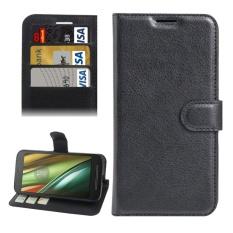 untuk Motorola MOTO E3 Power Lengkeng Tekstur Horizontal Flip PU Leather Case dengan Pemegang dan Slot Kartu dan Dompet (hitam) -Intl