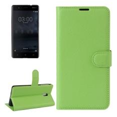 untuk Nokia 3 Lengkeng Tekstur Case Kulit Horisontal Flip dengan Pemegang dan Slot Kartu dan Dompet (Hijau) -Intl