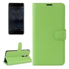 untuk Nokia 5 Lengkeng Tekstur Case Kulit Horisontal Flip dengan Pemegang dan Slot Kartu dan Dompet (Hijau) -Intl