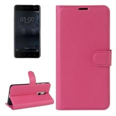 untuk Nokia 5 Lengkeng Tekstur Case Kulit Horisontal Flip dengan Pemegang dan Slot Kartu dan Dompet (Magenta) -Intl