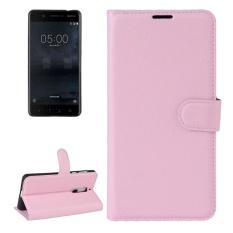 untuk Nokia 5 Lengkeng Tekstur Case Kulit Horisontal Flip dengan Pemegang dan Slot Kartu dan Dompet (Pink) -Intl