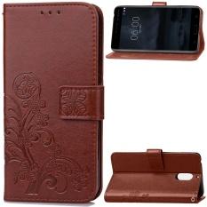 Untuk Nokia 6 Empat Daun Semanggi Pola PU Leather Case Magnet Tertutup Flip Stand Cover Dengan